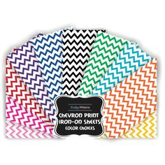 Chevron Stripes Iron On Vinyl Sheets (Select Color)