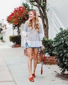I think it's safe to say summer has arrived and I'm not mad about it.  {side note: who knew eyelet and pinstripes were such a match made in heaven? This top is summer dreams and I feel like I should be picnicking in the park... so who wants to join? } // http://liketk.it/2rL2g #liketkit @liketoknow.it #LTKunder100 #LTKunder50