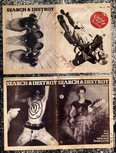 """""""Search and Destroy"""" zine covers, front and back spreads. From """"Punk is Dead, Punk is Everthing"""" Looks early 80's? Maybe late 70's? 70's era stuff usually looks a little more """"legit""""- probably a little art/design knowledge applied, some professional equipment. 80's era is far more DIY usually, often crudely made with the cheapest possible options."""