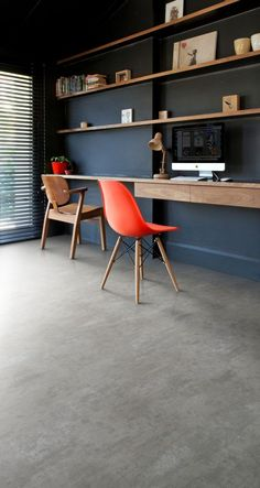 Home office featuring Secura PUR luxury vinyl sheet flooring in Powdered Concrete – office life Vinyl Sheet Flooring, Vinyl Flooring Kitchen, Linoleum Flooring, Luxury Vinyl Flooring, Luxury Vinyl Tile, Rubber Flooring, Kitchen Paint, Floors, Composite Flooring