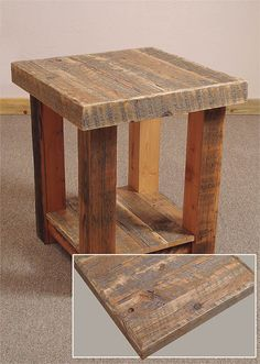 All the barn wood pieced together make for a really nice look on this end table.