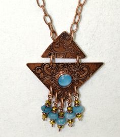 Trendy, Long Length Necklace, Copper and Aqua Stones by mimi1214 on Etsy