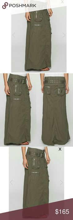 """Johnny Was Pete and Greta Long Cargo Skirt Ultra chic! Super edgy! Features a variety of zippered cargo pockets, wide grommet belt, button and zipper fly closure, this is definitely a unique maxi skirt and a great addition to your closet!  Size 2 & does run true to size however this runs big will fit a size 4 to 6 depending on how you'd like it to fit. NWOT, color is khaki green.   // Waist 15.5  // Length 40""""   // 97% Cotton  // 3? Spandex Johnny Was Skirts Maxi"""