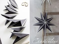 Papiersterne falten Upgrade - CreativLIVE paper paper napkins paper to the moon 3d Origami Stern, Origami Easy, Origami Paper Art, Diy Paper, Paper Crafts, Handmade Christmas Decorations, Christmas Crafts, Xmas, Folded Paper Stars