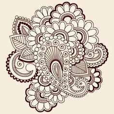 Hand-Drawn Intricate Abstract Flowers Mehndi Henna Tattoo Paisley Doodle Stock Photo