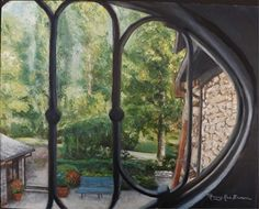 Courtyard View from Window by Nancy Brown Oil ~ 16 x 20