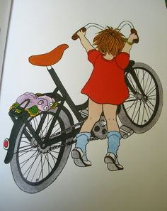 Lotta with the bike that is too big.... The Lotta books were favourites in the late 70s.
