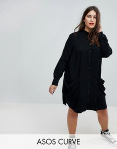 ede992efbb48 CURVE Shirt midi dress with Drape Pockets