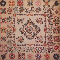 Baltimore Album Quilt, 1851. Made by Mary Brown. East Nottingham, Maryland.