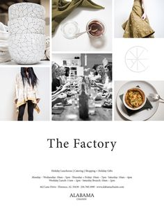 The Factory @ Alabama Chanin can host your holiday luncheon, provides off-site catering for parties and events, and is the perfect place for shopping and gifts. Visit us at 462 Lane Drive, Florence, or contact us at 256.760.1090 for all your holiday goodness.