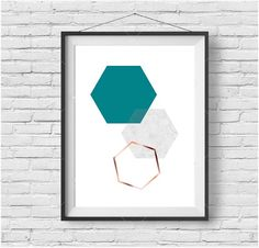 Turquoise and Copper Printable Art Hexagon Print by PrintAvenue