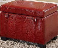 Bell Red Crocodile Storage Ottoman 96072