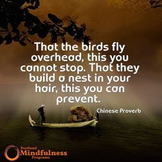 That the birds fly overhead this you cannot stop. That they build a nest in your head this you can prevent. - Chinese Proverb