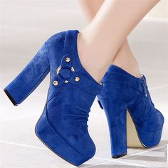 9ace6769fa6 royal blue thick heel ankle boots...I think suede heels are a vice
