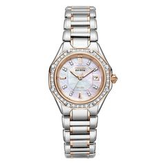 Ladies Eco-Drive Octavia Diamond Stainless Steel and Rose Gold MOP Dial Watch