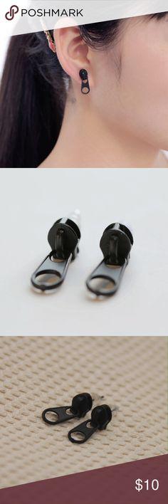 Zipper Earrings Black zinc alloy earrings for pierced ears. Jewelry Earrings