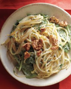 lemony pasta with goat cheese and spinach.