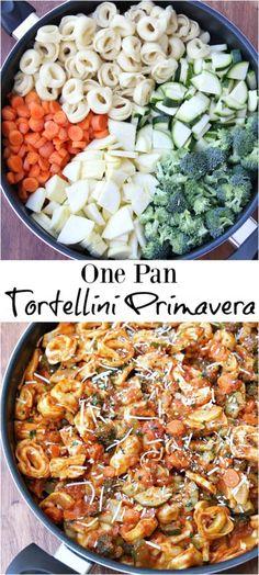 One Pan Tortellini Primavera (creamy pasta recipes sausage) Pasta Recipes, Dinner Recipes, Cooking Recipes, Easy Tortellini Recipes, Tortellini Pasta, Tortellini Ideas, Potato Recipes, Dessert Recipes, One Pot Meals