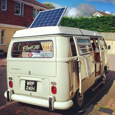 aogrady:  Solar panel up, catching the last bit of sun. #solar #earlybay #westfalia #vw #campervan #type2 #campmobile