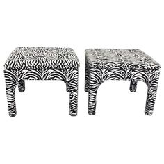 Pair Zebra Print Benches / Ottomans