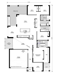 Today I have this modern 4 bedroom + study floor plan to show you. It fits a typical residential block with a small frontage of It has everything you'd need if you were building your first home. Best House Plans, Dream House Plans, House Floor Plans, Studio Floor Plans, Storey Homes, House Blueprints, Good House, Next At Home, Home Decor Bedroom