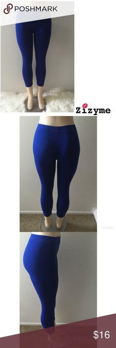 Royal Blue Ankle Length Legging Material: 95% Nylon 5% Spandex Pants Leggings