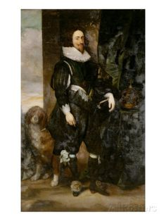 Portrait of King Charles I Wearing the Order of the Garter, with a Dog by His Side Giclee Print by Dyck at AllPosters.com
