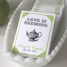 LOVE IS BREWING Tea Favors. Envelope holds one tea bag, not included.  $1/ea.
