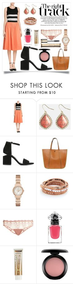 """The right track"" by camry-brynn ❤ liked on Polyvore featuring Paule Ka, Avenue, Alexander Wang, laContrie, Kate Spade, Chan Luu, Fleur of England, Guerlain, Xen-Tan and MAC Cosmetics"