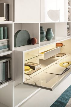 59 ideas for home office storage furniture bookcases Office Storage Furniture, Home Office Storage, Home Office Space, Home Office Design, Wall Storage Systems, Hidden Storage, Muebles Living, Small Space Interior Design, Glass Shelves