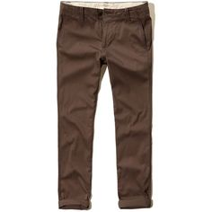Hollister Skinny Zipper Fly Chinos (29 CAD) ❤ liked on Polyvore featuring men's fashion, men's clothing, men's pants, men's casual pants, brown, mens twill pants, mens zipper pants, mens 5 pocket twill pants, mens chino pants and mens skinny pants