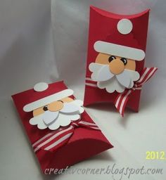 Santa Pillow boxes - punch art - bjl