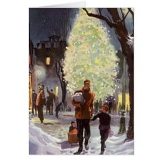 Vintage Christmas Father Shopping with the Kids Card - christmas cards merry xmas diy cyo greetings