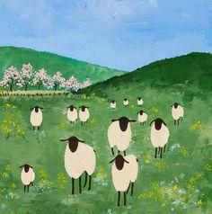 """Field of sheep"" - Original Fine Art for Sale - © Virginia McLaren Sheep Paintings, Animal Paintings, Animal Drawings, Watercolor Paintings, Sheep Drawing, Sheep Illustration, Art In The Park, Sheep Art, Naive Art"