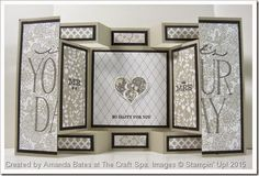 Wedding Double Display Card by Amanda Bates at The Craft Spa. using... Soemthing Borrowed paper, Something Lacy, Big on You, Cheers to Love, Groovy Love stamps & Sweetheart Punch