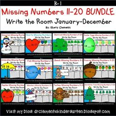 Missing Numbers 11-20 Write the Room BUNDLE (January-December) - Math Centers - number sequence - snowmen, hearts, shamrocks, Easter eggs, umbrellas, fish, beach, acorns, apples, monsters, turkeys, Christmas tree - Purchasing this Bundle provides a 20% SAVINGS rather