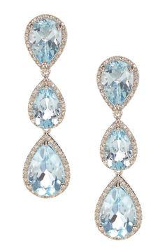 Blue Topaz and Diamond Teardrop Earrings by Best Silver Inc. on HauteLook