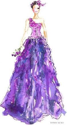 46 Ideas Fashion Sketches Back Evening Gowns Purple Gowns, Purple Dress, Purple Ballgown, One Shoulder Gown, Dress Sketches, Fashion Design Sketches, Mode Vintage, Shades Of Purple, Purple Art