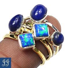 S6 5 Two Tone Stuckable Ring Lapis Fire Opal Sterling Silver Ring Jewelry s 6 5 | eBay