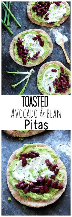 Toasted Avocado and Bean Pitas are a great healthy lunch to grab and go! This easy to make meal is done in minutes. Crispy warm pitas are delish. http://NeuroticMommy.com #vegan #healthy