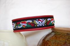 "Sexy Beast Dog Collars - Black Tattoo 1"" Trim Dog Collar, $34.00 (http://sexybeastdogcollars.com/custom-collars/leather-trim/black-tattoo-1-trim-dog-collar)"