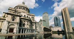 The Mother Church is located near the heart of Boston on the picturesque Christian Science Plaza. There are beautiful buildings and gardens, a fountain, and a reflecting pool.