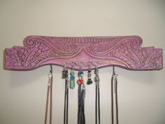 Vintage Chair Back Jewelry Organizer - Repurposed, Painted, Upcycled, Recycled from Love & Zen. Saved to Love & Zen Stuff. Back Jewelry, Diy Jewelry, Jewelry Making, Diy Recycle, Recycling, Chair Parts, Pink Palette, Vintage Chairs, Jewellery Display