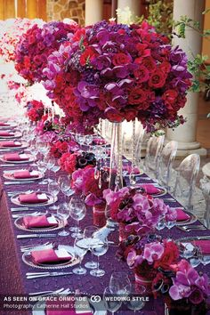 We love the jewel tones of this beautiful Tuscan table accented with and Event Design and Planner: Bella Signature Design; Table Flower Arrangements, Orchid Centerpieces, Wedding Arrangements, Wedding Table Centerpieces, Centerpiece Decorations, Reception Decorations, Reception Ideas, Wedding Table Flowers, Purple Wedding Flowers