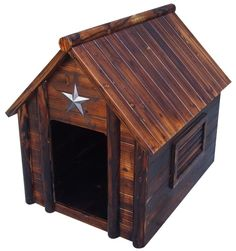 Log Cabin Dog House - it's that the lone star on it too? Love it! Not that my dog would ever be in a dog house. Hmf!
