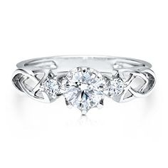 Sterling Silver Round Cubic Zirconia CZ 3 Stone Promise Engagement Wedding Bridal Ring available at joyfulcrown.com