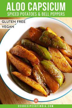 Shimla Mirch ki Sabji Recipe with stepwise photos. Veg Recipes Of India, North Indian Recipes, Indian Food Recipes, Aloo Recipes, Garlic Recipes, Vegetable Recipes, Potato Recipes, Capsicum Recipes, Green Pepper Recipes