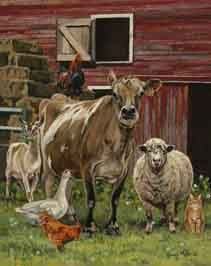 Bonnie Mohr Studio - home of Rural American, Inspirational and lots of cow art!Where art meets heart and celebrates life. The Barnyard, Barnyard Animals, Cute Animals, Barn Animals, Farm Paintings, Animal Paintings, Cabras Animal, Arte Country, Farm Art