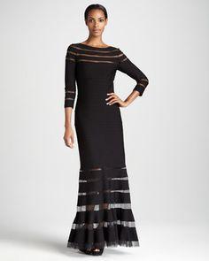 Three-Quarter Sleeve Illusion-Detail Gown by Tadashi Shoji at Neiman Marcus.