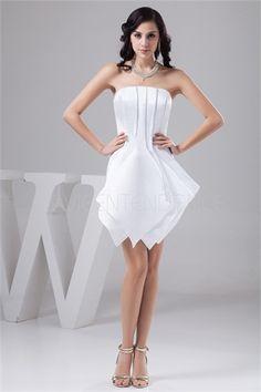 Robe de cocktail bustier blanche blanche spéciale courte en satin
